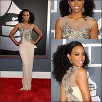 kelly rowland dress - 2015 Hot Kelly Rowland Grammy Awards Red Carpet Celebrity Dress Jewel Neck Sheer Sheath Brush Lace Embroidery Beads Evening Dresses BO5672