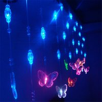 achat en gros de noël perles de chaîne-72 LED Bead Cortine Light String 4m * 0.65m Porte Papillon rideau de fond Tente de Noël Fly Fête de mariage de Noël Porche Fée Lumières