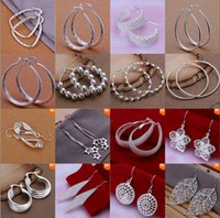 Cheap DHL free shipping New Style fashion Jewelry mixed high-quality 925 sterling silver Ear hoop earrings Hot Best gift free shipping