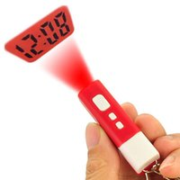Cheap Mini LCD Projection Clock with Key Ring Portable Flashlight Keychain Time Clock Christmas Promotion Gift