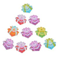Cheap Fashion Star Pattern Gift Box Shape 2 Holes Wood Buttons Fit Scrapbooking Sewing DIY Multicolor 3x2.9cm 30PCs