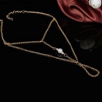 anklet sizes - 2015 Casual sport New Romantic Classic Trendy Alloy Easter Unisex Foreign Trade Hot Summer Tidal Range Size Asymmetry Pearl Anklet Mittens