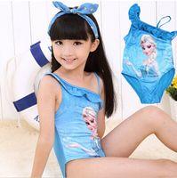 baby swimwear - Hot Baby Swimwear Cartoon Frozen Elsa One Shoulder Girls Bathing Suit Swimsuit Girls Princess Summer Clothing Via DHL