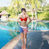 american flag swim trunks - Summer Style Mens Womens Stars Stripes American Flag Swimming Trunks Board Sports Beach Shorts Pants Hot Sale