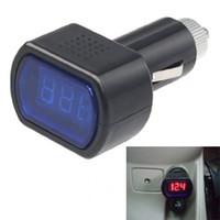 auto gauges electric - New Arrival Blue LED Digital Car Volt Voltage Meter Battery Electric Cigarette Lighter Univesal Car Auto V Voltmeter Gauge