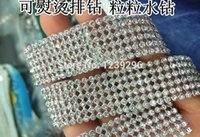 aluminium paste - mm rows meter Crystal Clear Stones Silver Plated A Hot Fix Rhinestone Mesh Trimming Aluminium base Pasted Sew on Net Drill