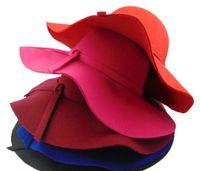 Wholesale Retro vintage women hats wool cashmere infinity flet fedora floppy cloche wide brim bowknot church hat caps for ladies girls colors
