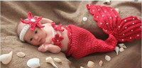 photography props - Newborn Baby Infant Crochet Knitting Costume Soft Adorable Clothes Mermaid Style Photo Photography Props Headband Outfit for Month Y05