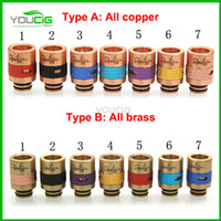 brass fitting - 14 types colorful Puffs Drip Tips Airflow control with steel brass copper mix color fit for rda atomizer mechanical mod