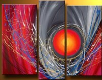 Cheap hand-painted modern abstract painting Colorful red sun line abstract Landscape oil painting on canvas 3 panel wall art