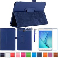 Wholesale 1pc PU Leather Case Folio Stand For Samsung Galaxy Tab A T351 T350 inch Tablet PC Stylus screen protector Free Epacket