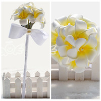 Wholesale Yellow White Flowers Bridal Wedding Bouquets Formal Small Bridesmaid Bouquet Wedding Suppliers For Ladies Bow Ribbon Holding Flowers Cheap