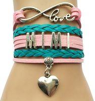 best xmas presents - 2016 new arrival hot sale Infinity Love Mimi Bracelet Best Mom s Xmas Gift Handmade Pink Velvet Leather Mother s Christmas Present