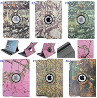 apple tree leaves - Newest Tree Branch Brown Camo Leaves Pattern Rotating PU Leather Shockproof Anti Dust Tablet Protective Cover Case for iPad Mini