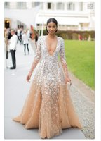 Wholesale 2016 Custom Made Zuhair Murad Evening Dresses Pageant Long Sleeves Applique Draped Deep V neck Plus Size Dress Party Formal wear Runway WWL