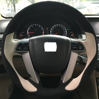 accord suede - Xuji Steering Wheel Cover for Honda Accord Car Special Hand stitched Beige Leather Black Suede Wheel Covers