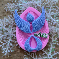 Wholesale Silicon mold fondant cake decorating tools angel wings diy handmade chocolate mold silicone molds cake tools F1033