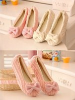 Wholesale Lovely Lady Home Floor Soft Women indoor Slippers Outsole Cotton Padded Bow Shoes Female Cashmere Warm Casual Shoes Size