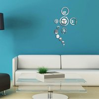 antique wall clocks for sale - Hot sale color DIY wall art mirror clock modern design watches decor sticker for living room home decoration