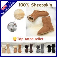 cow calf - 2015 sheepskin women boots genuine leather snow boots mid calf winter boots Australia boots US5 to US9 id5825