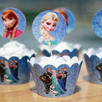 Wholesale 12 set Frozen Paper Cupcake Wrappers and Toppers for Kids Birthday Party Decoration Cakecup Picks Toppers
