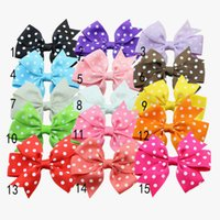Wholesale New Arrive grosgrain ribbon dot printing bows without clips for headband hair bows HDJ06