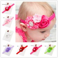 baptism headbands - 12pcs baby hair bows flower headband Baptism Gift Cheap Hairbows elastic hairband Little Girls Hair flower hairbows