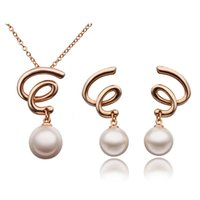 twisted pearl necklace - Korean fashion jewelry factory direct twisted word necklace jewelry pearl earrings Set