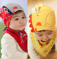 baby hat free shipping - Retail Giraffe Baby Beanie and Bandana Bibs Hat Sets for Baby Girls and Boys