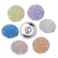 al por mayor rosas botón-JACK88 50pcs / lot mezclan los estilos de las broches multicolores de las rosas de la resina del botón a presión de 18 milímetros caben la joyería apta N414 de la pulsera del encanto del botón del jengibre