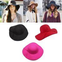 Wholesale 5 package Vintage Women Lady Soft Wide Brim Wool Felt Bowler Floppy Cloche Fedora Hat colors