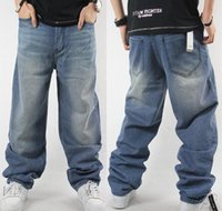 ad big - Man loose jeans hiphop skateboard jeans baggy pants denim pants hip hop men ad rap jeans Seasons big size QB022