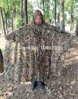 Wholesale Camo D Leaf cloak Yowie Ghillie Breathable Open Poncho Type Camouflage Birdwatching Poncho Sniper Suit CL78231248