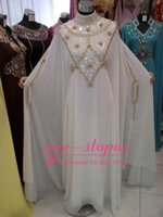 beaded kaftans - 2015 Abaya New Evening Dresses High Neck Beads Crystal Chiffon Muslim Fancy Dubai Kaftans Ladies Long Sleeve Party Dress Formal Prom Gowns