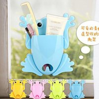 Wholesale 2016 new New Cute Frog Toothbrush Makeup Tools Wall Stick Paste Organizer Holder Hook Best Deal
