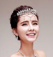 Wholesale Bridal jewelry bridal jewelry sparkling diamond tiara crown frontlet hair ornaments