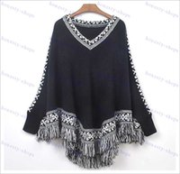 Wholesale Brand women Batwing Sleeve sweater Tassels Hem Style Cloak Poncho Cape Tops Knitting sweater Coat Shawl