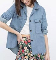 Cheap XC55 Fashion Women Elegant Blue Denim Turn-down Collar Jacket Coats Pockets Outerwear Casual Brand Designer Tops