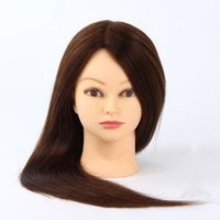 Wholesale 22 quot quot quot Real Long Hair Model Hairdressing Practice Training Head Mannequin Clamp hairdressing dolls heads
