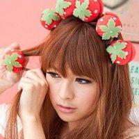 Wholesale Foam Rollers Sponge Strawberry Balls Hair Rollers Curlers DIY Hairdressing Tool SGG