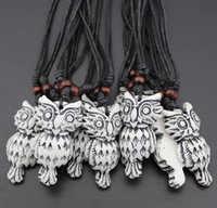 animal totem necklace - Jewelry Imitation Bone Carved Tribal style totem Owl pendant necklace Gift mn451
