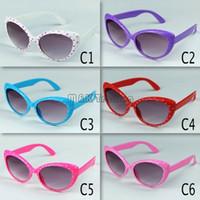 Sunshading acrylic hinge - 2016 News Fashion Kids Sunglasses Design Cool Cat Eye Children Eyewear Lenses Plastic Hinge Mix Colors