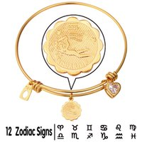 aquarius man - U7 Unisex Zodiac Signs Aquarius Bangle Bracelet For Women Men Trendy K Gold Platinum Plated Constellation Horoscope Jewelry H971