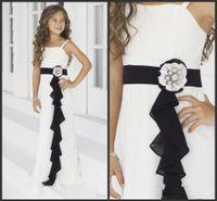 Wholesale 2016 Best Quality White and Black Flower Girl Dress Spaghetti Straps Floor Length Chiffon Lovely Girls Pageant Dresses Custom Made G30