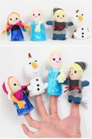 Wholesale 4pcs set Stuffed Toys Lovely Frozen Anna Elsa Olaf Kristoff Finger Puppet Set Children Kids Plush Finger Puppets doll