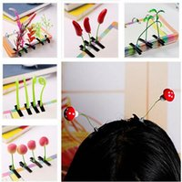 bean sprouts plant - New Lovely Novelty Plants Grass Fruit Hair Clips Headwear Small Bud Antenna Hairpins Lucky Grass Bean Sprout Mushroom Party Hair