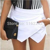 achat en gros de short za-151206 nouvelle arrivée 2014 Mode femmes printemps Été Irrégulier occasionnels blanc / noir ZA shorts pantalon S M Lon vente
