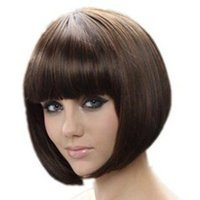 best celebrity hair - Fashion New Womens Ladies Short Straight Full Bangs BOBO Hair Cosplay Wig best quality Celebrity Synthetic Bob Wigs