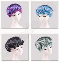 Wholesale 2LOT HHA700 Double printing Shower Cap Waterproof Bathing Cap Dot Printed Bath Hat EVA Take a shower cap