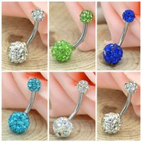 Wholesale Hot Sale Min order is pc PC Classic Navel Belly Button Bar Ring Barbell Rhinestone Crystal Ball Body Piercing Body Jewelry FMPJ031 M1